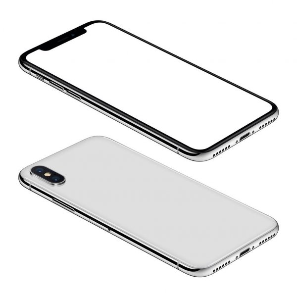 White smartphone similar to iPhone X mockup front and back sides isometric view CCW rotated lies on surface — стоковое фото