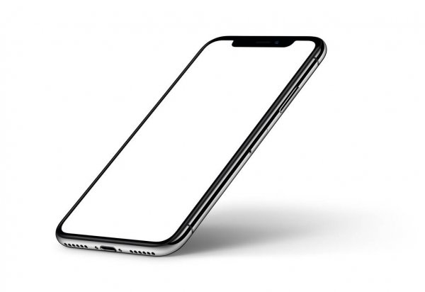 IPhone X. Perspective smartphone mockup with shadow CW rotated on white background — стоковое фото